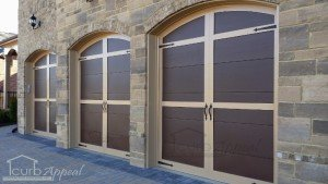 Carriage style garage door with hardware
