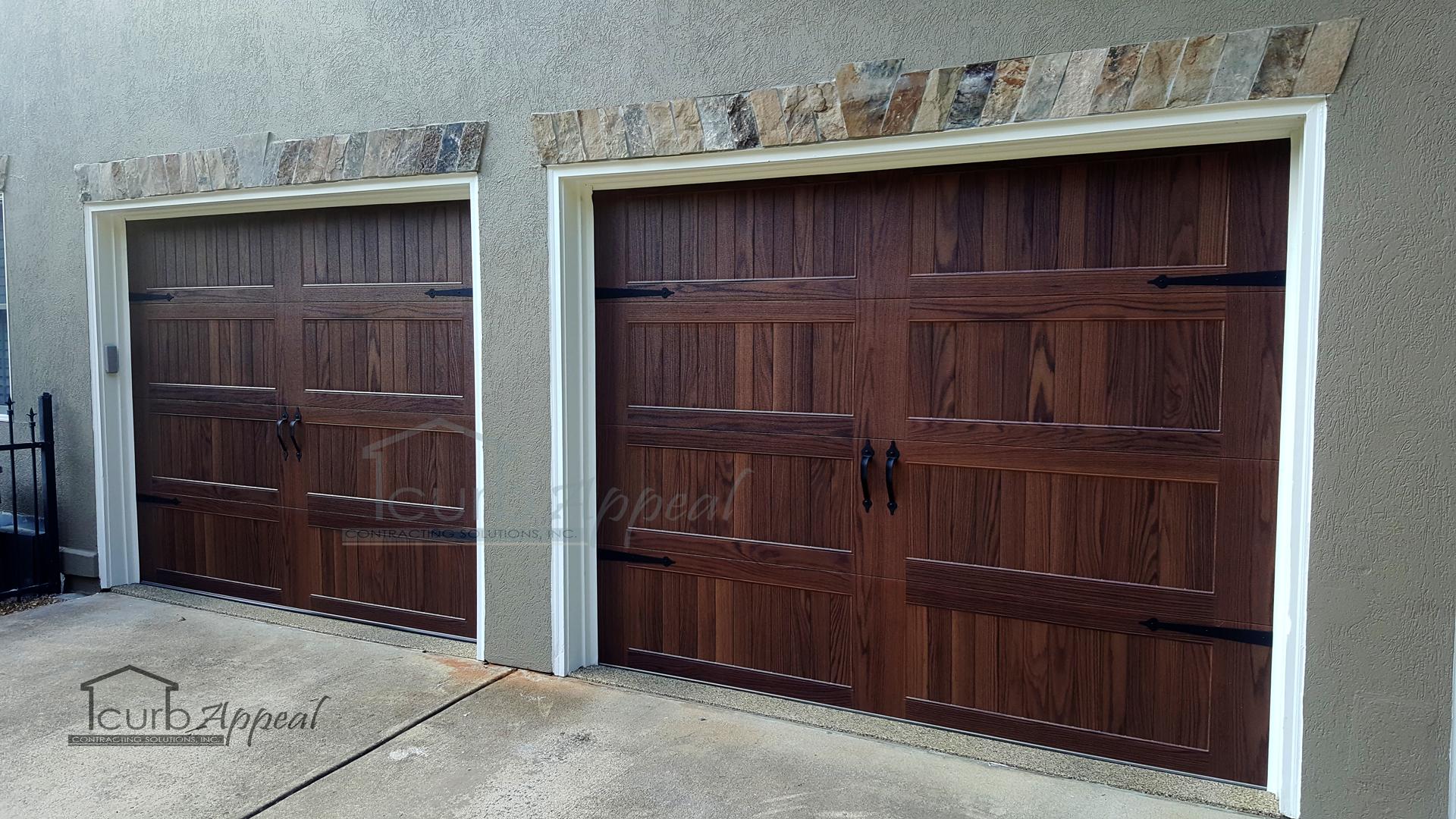 Faux wood garage doors installed in Atlanta, GA