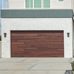 Modern wood garage door with horizontal wood planks.