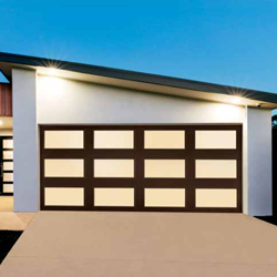 A modern style garage door with a full view design and a wood finish.