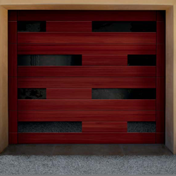 A modern style wood garage door with mosaic windows.