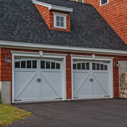 Wood composite garage doors.