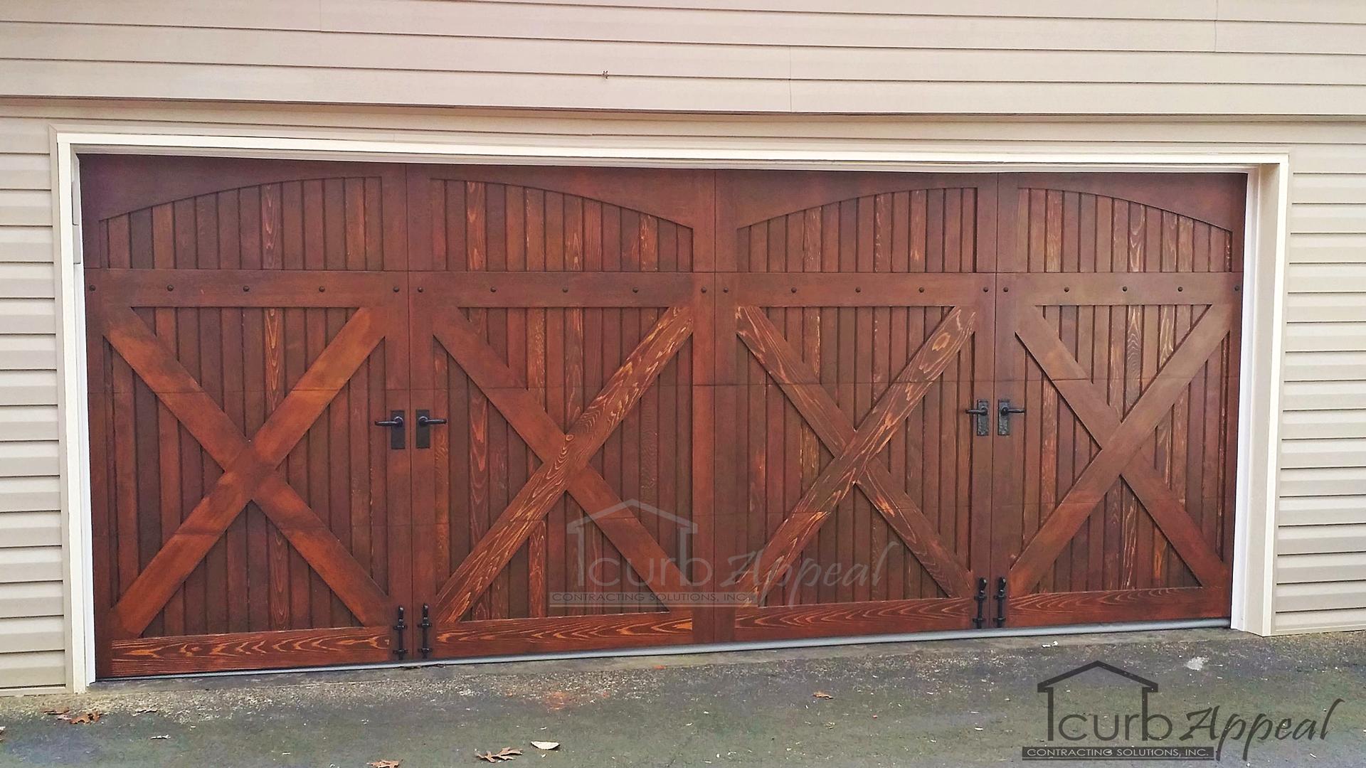 A wood garage door installed in Atlanta, GA.